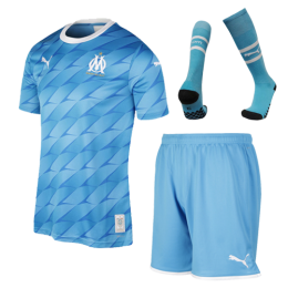 19/20 Marseille Away Blue Jerseys Whole Kit(Shirt+Short+Socks)