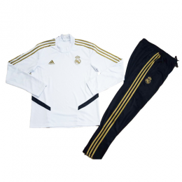 Kids 19-20 Real Madrid White Sweat Shirt Kit(Top+Trouser)