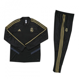 Kids 19-20 Real Madrid Black Sweat Shirt Kit(Top+Trouser)