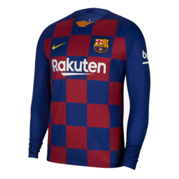19/20 Barcelona Home Blue&Red Long Sleeve Jerseys Shirt