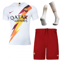 19-20 Roma Away White Soccer Jerseys Kit(Shirt+Short+Socks)