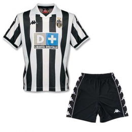 99/00 Juventus Home Black&White Soccer Retro Jerseys Kit(Shirt+Short)