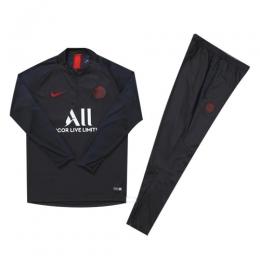 Kids 19/20 PSG Black Zipper Sweat Shirt Kit(Top+Trouser)