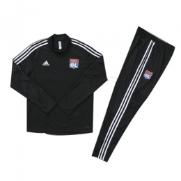Kids 19/20 Olympique Lyonnais Black Sweat Shirt Kit(Top+Trouser)