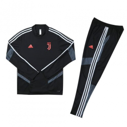 Kids 19-20 Juventus Black Sweat Shirt Kit(Top+Trouser)