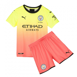 19/20 Manchester City Third Away Yellow&Orange Children's Jerseys Kit(Shirt+Short)