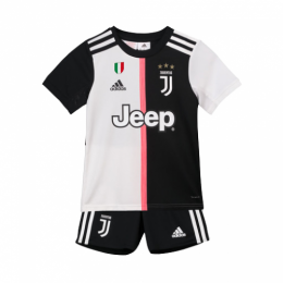 19-20 Juventus Home Black&White Children's Jerseys Kit(Shirt+Short)