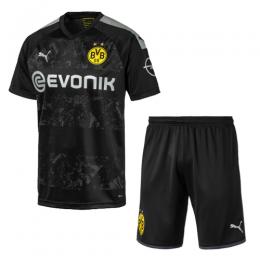 19/20 Borussia Dortmund Away Black Soccer Jerseys Kit(Shirt+Short)