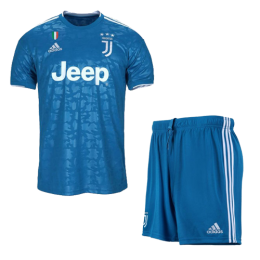 19/20 Juventus Third Away Blue Soccer Jerseys Kit(Shirt+Short)