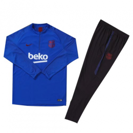 Kids 19/20 Barcelona Blue Zipper Sweat Shirt Kit(Top+Trouser)