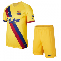 19/20 Barcelona Away Yellow Soccer Jerseys Kit(Shirt+Short)