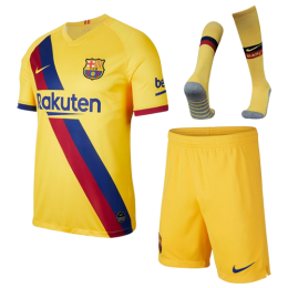 19/20 Barcelona Away Yellow Soccer Jerseys Kit(Shirt+Short+Socks)