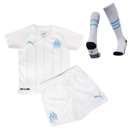 19/20 Marseilles Home White Children's Jerseys Kit(Shirt+Short+Socks)