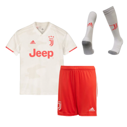 19-20 Juventus Away White Children's Jerseys Kit(Shirt+Short+Socks)