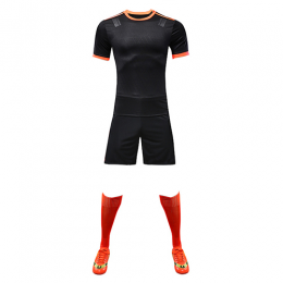 Customize Team Black&Orange Player Version Soccer Jerseys Whole Kit(Shirt+Short+Socks)