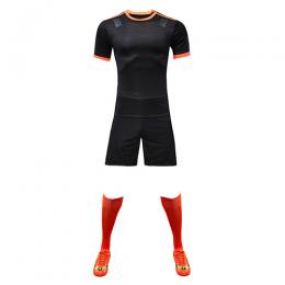 Customize Team Black&Orange Player Version Soccer Jerseys Whole Kit(Shirt+Short+Socks)