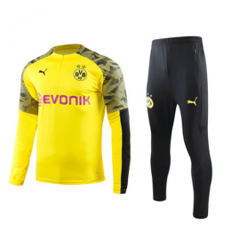 19/20 Borussia Dortmund Yellow Zipper Sweat Shirt Kit(Top+Trouser)
