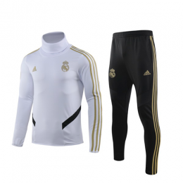 19/20 Real Madrid White High Neck Collar Sweat Shirt Kit(Top+Trouser)