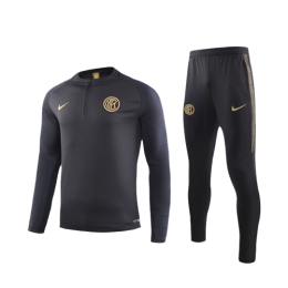 19/20 Inter Milan Black Zipper Sweat Shirt Kit(Top+Trouser)