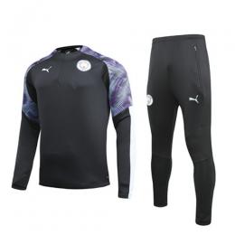 19/20 Manchester City Black Zipper Sweat Shirt Kit(Top+Trouser)