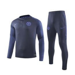 19/20 Chelsea Navy Zipper Sweat Shirt Kit(Top+Trouser)