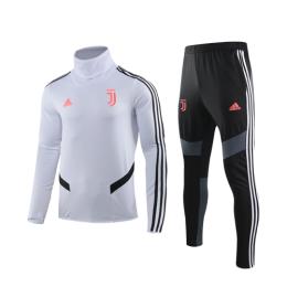 19/20 Juventus White High Neck Collar Sweat Shirt Kit(Top+Trouser)