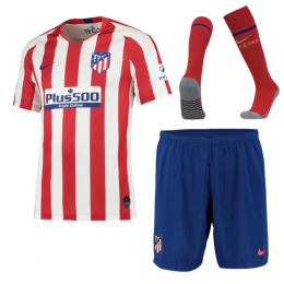 19-20 Atletico Madrid Home Red&White Soccer Jerseys Whole Kit(Shirt+Short+Socks)