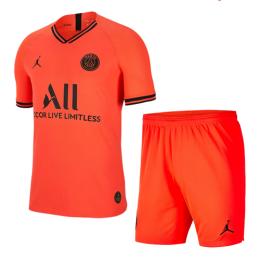 19/20 PSG JORDAN Away Red&Orange Soccer Jerseys Kit(Shirt+Short)