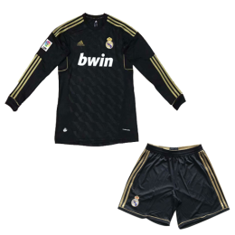 11-12 Real Madrid Away Black Retro Long Sleeve Jersey Kit(Shirt+Short)