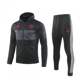 19/20 Manchester United Black&Gray Hoodie Training Kit(Jacket+Trouser)
