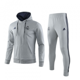 19/20 Real Madrid Gray Hoodie Training Kit(Jacket+Trouser)