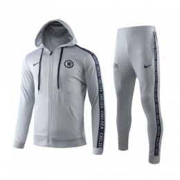 19/20 Chelsea Gray Hoodie Training Kit(Jacket+Trouser)