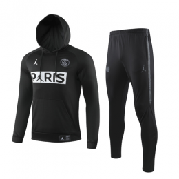 19/20 PSG Black Hoodie Sweat Shirt Kit(Top+Trouser)