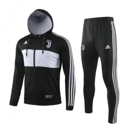 19/20 Juventus Black&White Hoodie Training Kit(Jacket+Trouser)
