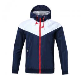 Customize Team White&Navy Hoodie Windrunner Jacket