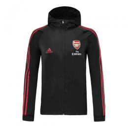19/20 Arsenal Black Hoodie Windrunner Jacket