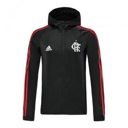 19/20 CR Flamengo Black Hoodie Windrunner Jacket