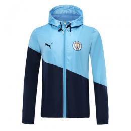 19/20 Manchester City Light Blue/Navy Hoodie Windrunner Jacket