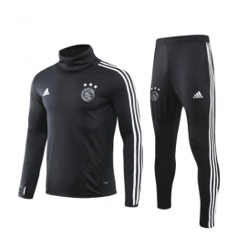 19/20 Ajax Black High Neck Collar Sweat Shirt Kit(Top+Trouser)