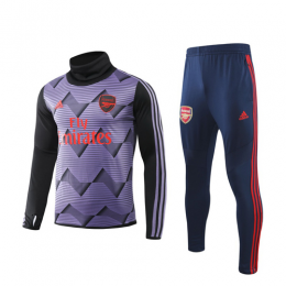 19/20 Arsenal Purple High Neck Collar Sweat Shirt Kit(Top+Trouser)