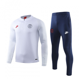 19/20 PSG White Zipper Sweat Shirt Kit(Top+Trouser)