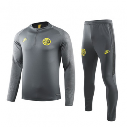 19/20 Inter Milan Gray Zipper Sweat Shirt Kit(Top+Trouser)