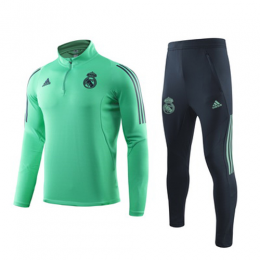 19/20 Real Madrid Green High Neck Collar Sweat Shirt Kit(Top+Trouser)