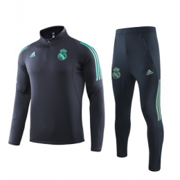 19/20 Real Madrid Navy High Neck Collar Sweat Shirt Kit(Top+Trouser)