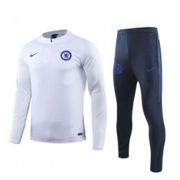 19/20 Chelsea White Zipper Sweat Shirt Kit(Top+Trouser)