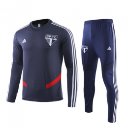 19/20 Sao Paulo Navy O-Neck Sweat Shirt Kit(Top+Trouser)