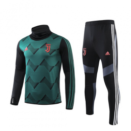 19/20 Juventus Green High Neck Collar Sweat Shirt Kit(Top+Trouser)