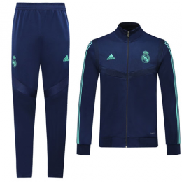 19/20 Real Madrid Blue High Neck Collar Training Kit(Jacket+Trouser)