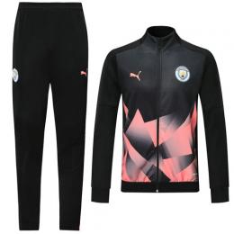 19/20 Manchester City Black&Pink High Neck Collar Training Kit(Jacket+Trouser)