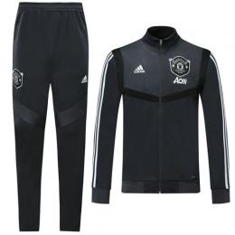 19/20 Manchester United Dark Gray High Neck Collar Training Kit(Jacket+Trouser)